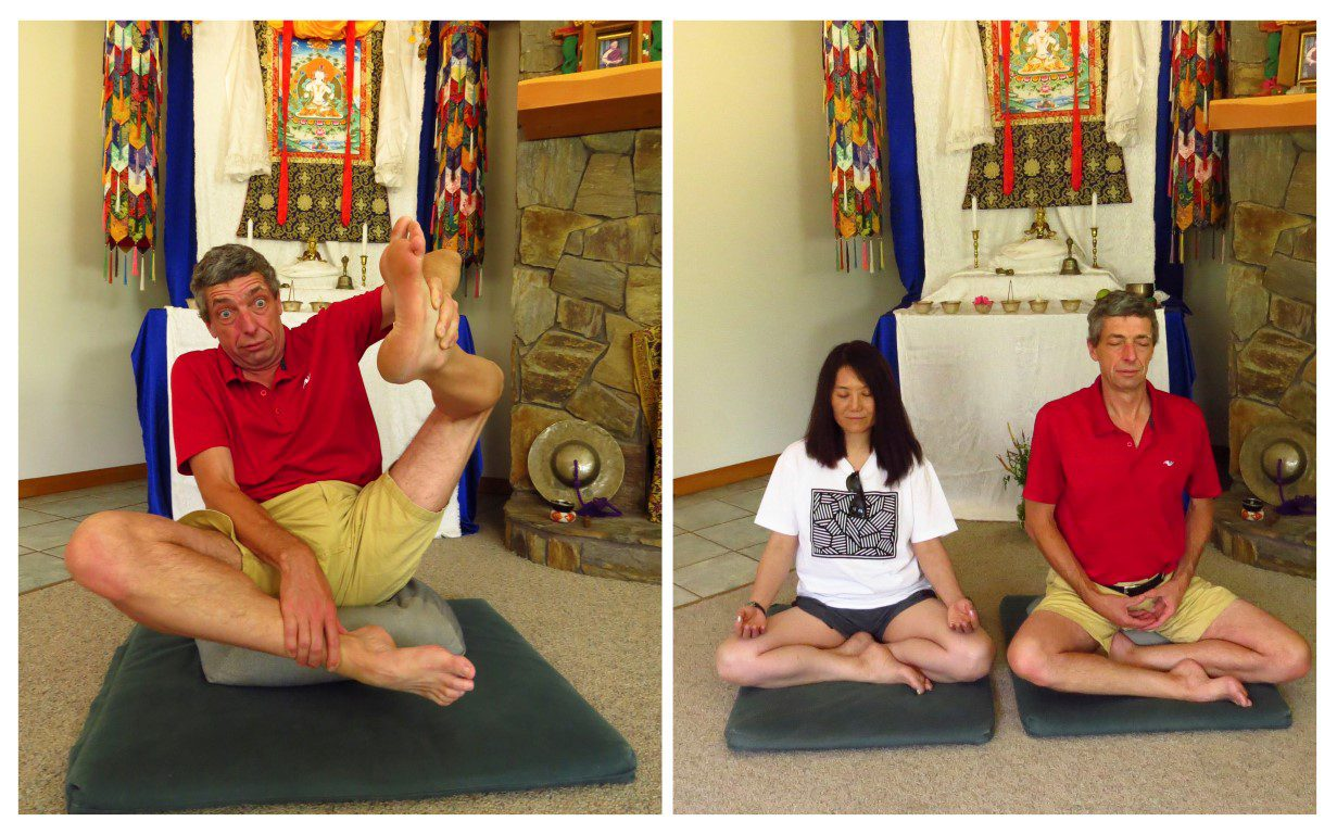 two people meditating