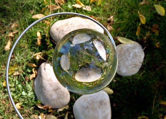 Rocks seen through glass ball